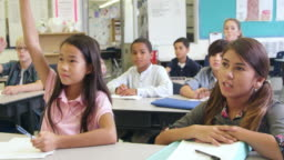 5th grade schoolkids answer questions in class, shot on R3D