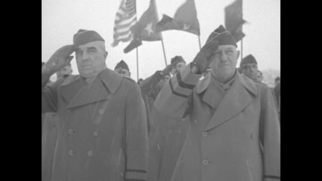 vs 5th infantry division soldiers parade on snowy ground at fort custer training center maj gen joseph cummins brig gen clyde abraham salute and men... - mitten stock videos and b-roll footage