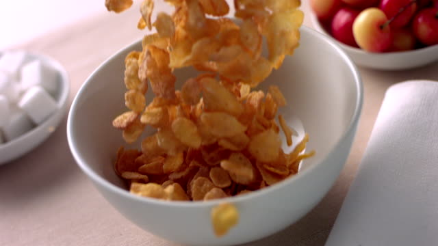 HD 600fps Corn flakes falling in a bowl