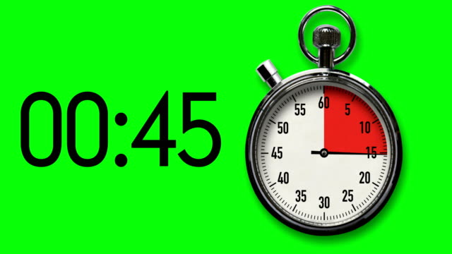 60-second stopwatch countdown on chroma key background with digital readout - countdown stock videos & royalty-free footage