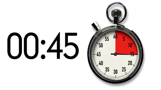 60-second stopwatch countdown on white with digital readout - countdown stock videos & royalty-free footage