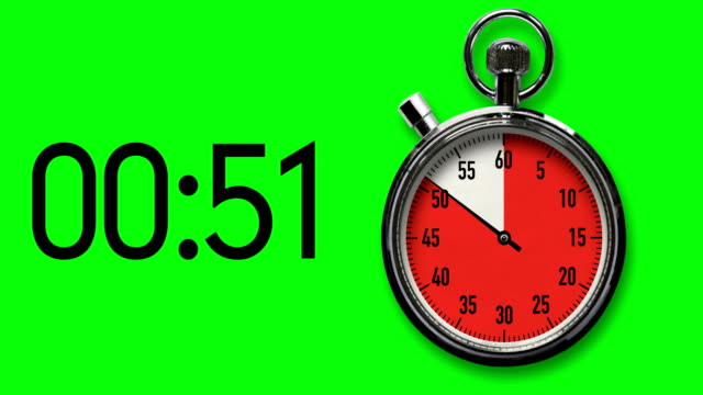60-second stopwatch reverse countdown on chroma key background with digital readout - stop watch stock videos & royalty-free footage