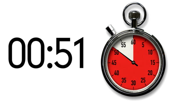 60-second stopwatch reverse countdown on white with digital readout - stop watch stock videos & royalty-free footage