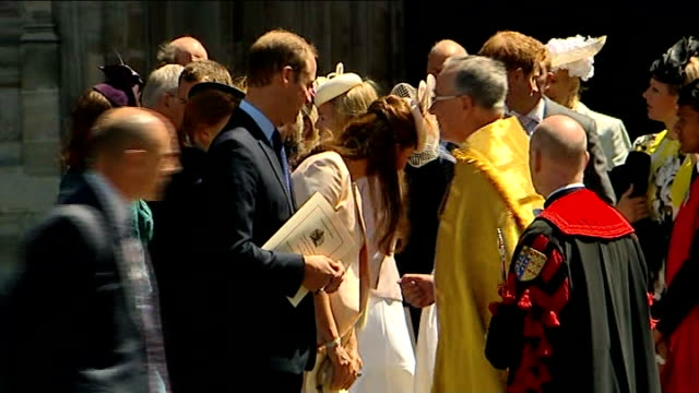 60th anniversary of queen's coronation westminster abbey service departures more of prince william and catherine duchess of cambridge outside abbey... - 礼拝点の映像素材/bロール