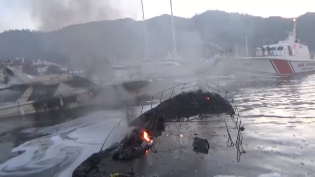 63yearold ekrem gokce was died and turker demir was injured after a fire broke out in a marina in the aegean province of mugla on april 10 2017 three... - mugla province stock videos and b-roll footage
