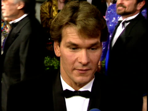 Patrick Swayze speaking to reporter on the red carpet talking about the protest nn