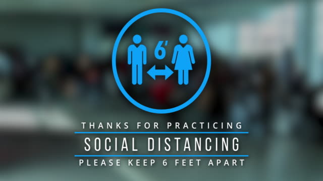 6ft social distance animation blue on live action background - biomedical animation stock videos & royalty-free footage