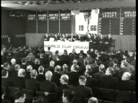 jan-1966 b/w montage world cup draw in london / london, united kingdom / audio - 1966 stock videos & royalty-free footage