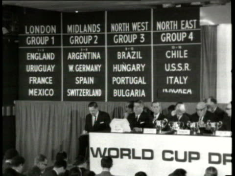 jan-1966 b/w montage world cup draw in london / london, united kingdom / audio - 1966 bildbanksvideor och videomaterial från bakom kulisserna