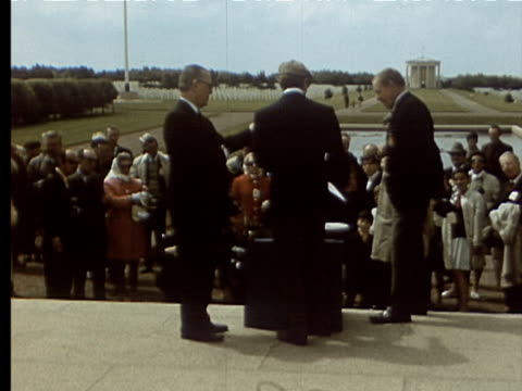 jun-1969 montage american memorial at normandy beach. plaque honoring eisenhower. older man with beard is jack tompson, former war correspondent with... - male likeness stock videos & royalty-free footage