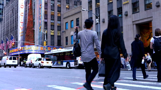 6th avenue, aerosoles, radio city music hall - radio city music hall stock videos & royalty-free footage