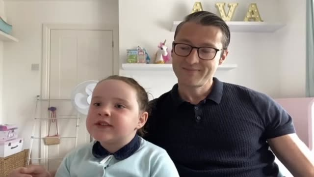 6yearold betsy faye griffin delivers positive messages in online videos england int betsy griffin interview via internet as sitting with dad sot - parent stock videos & royalty-free footage