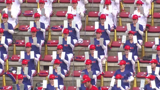 70th anniversary of the foundation of the ruling Workers Party Pyongyang Various shots of students seated in stands at national football match all...