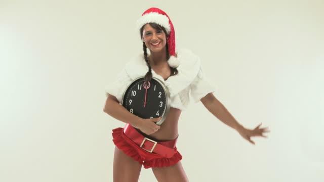 hd 720p30: sexy mrs. santa - braided hair stock videos & royalty-free footage
