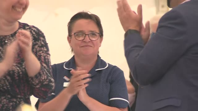 king's lynn queen elizabeth hospital 'clap for carers' event; england: norfolk: king's lynn: queen elizabeth hospital: ext various of hospital staff... - toy stock videos & royalty-free footage