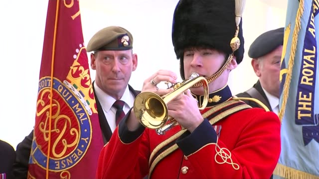 75th anniversary of dunkirk marked england kent ramsgate int **music heard sot** bugler playing last post sot various shots of veterans attending... - ramsgate stock videos & royalty-free footage