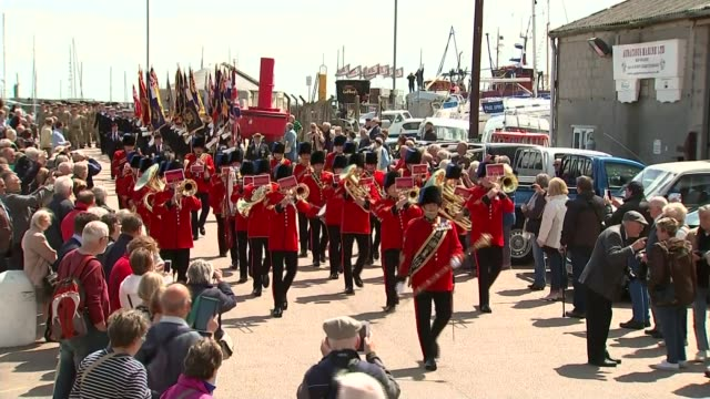 75th anniversary of dunkirk marked kent ramsgate ext **music heard sot** military band marching along sot - ramsgate stock videos & royalty-free footage