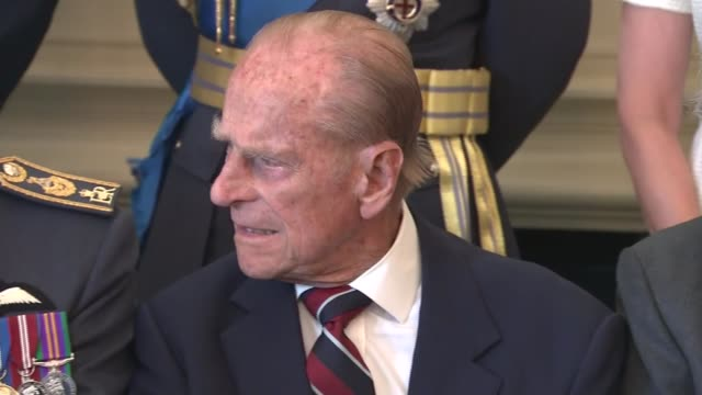 WWII 75th anniversary of the Battle of Britain London RAF Club INT Prince Philip Duke of Edinburgh chatting with RAF personnel and veterans at Battle...