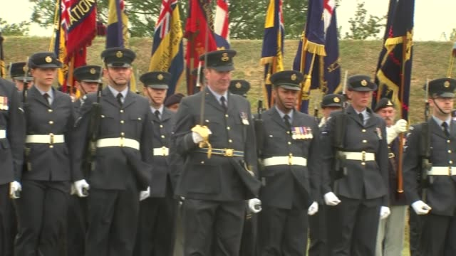75th anniversary of the battle of britain service flags marched along to music / troops lined up / veterans marching on / national anthem played /... - prinz michael von kent stock-videos und b-roll-filmmaterial