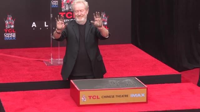 79yearold Alien creator Ridley Scott becomes the 304th star sinks his handprints and footprints into cement at the TCL Chinese Theatre a tradition...