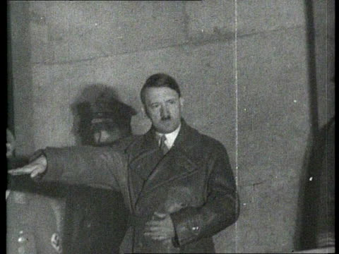 vídeos de stock, filmes e b-roll de mar-1936 b/w montage chancellor adolf hitler gives a speech during the occupation of the rhineland by the german forces on march 7, 1936 / rhineland,... - adolf hitler