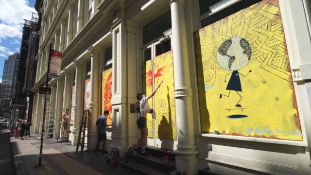 7th june 2020: stores boarded up the show windows for prevention from mob violence of george floyd death protesters. art by artistzuz and av_artist. - barricade stock videos & royalty-free footage
