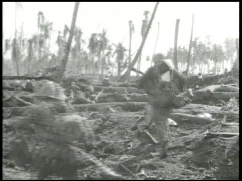 7th marine division soldiers & m4 sherman tanks advancing through destroyed forest area, beach, fighting from defensive positions, advancing inland,... - armoured vehicle stock videos & royalty-free footage