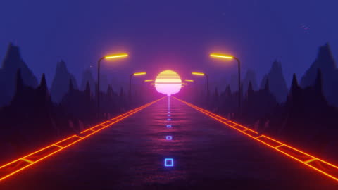 vídeos y material grabado en eventos de stock de fondo visual fluorescente de los años 80. carretera nocturna - letrero de neón
