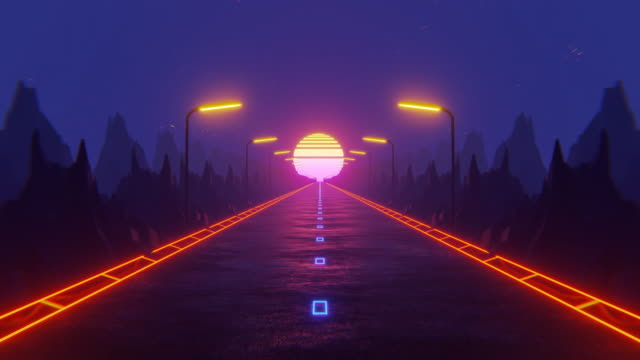 80s fluorescent visual background. night road - neon colored stock videos & royalty-free footage