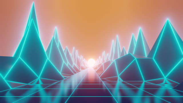 vídeos de stock e filmes b-roll de 80s fluorescent visual background - néon