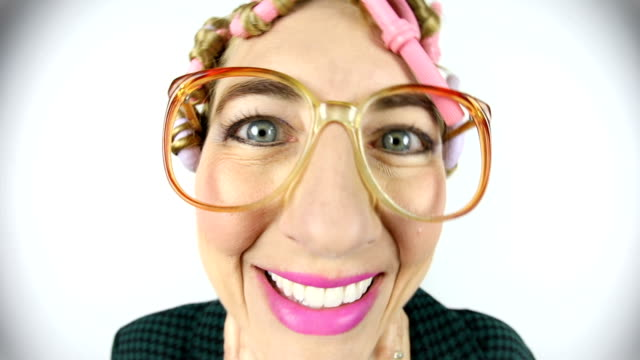 80s mom in hot curlers fisheye video - ugliness stock videos & royalty-free footage
