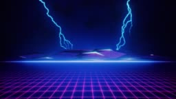 80s Pink Retro Grid and Blue Lightning