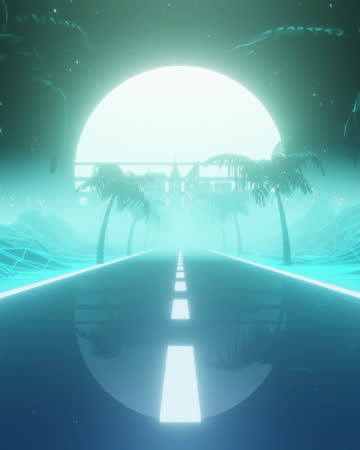 80s retrowave background loop with sunset and palm trees - tropical tree stock videos & royalty-free footage