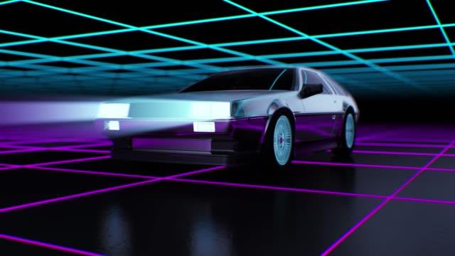 80s stil retro futurism bakgrund med rörliga bil 3d-animering. - virtuell verklighet bildbanksvideor och videomaterial från bakom kulisserna