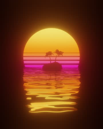 80s sunset over a tropical island in retro wave style - tropical tree stock videos & royalty-free footage