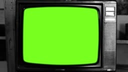 80s Television with Green Screen. Black and White Tone. Zoom In.