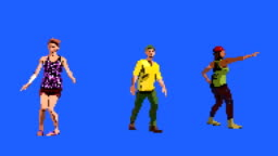 8-Bit People Dancing on a Blue Screen Background