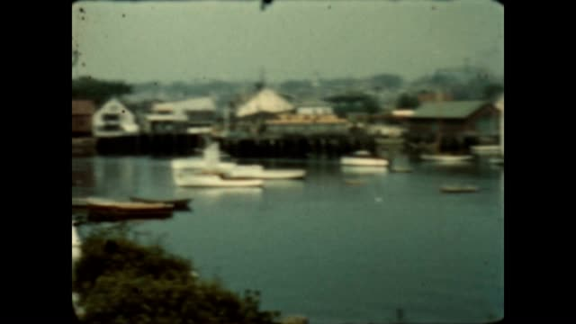 8mm home movie of gloucester harbor from the late 1930's - gloucester massachusetts stock videos & royalty-free footage