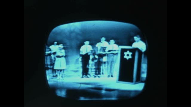 8mm home movie shot of television screen showing jewish prayer on a public broadcast in the early 1960's - orthodox judaism stock videos & royalty-free footage