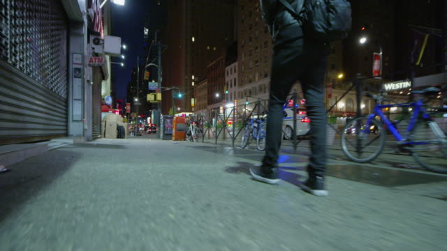 8th avenue walk at night - loneliness stock videos and b-roll footage