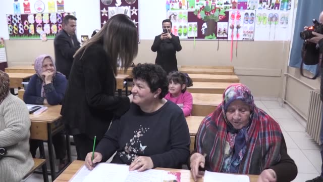 year-old woman in northeastern turkey is realizing a childhood dream: learning how to read and write, an opportunity she missed as a child. gullu... - school child stock videos & royalty-free footage