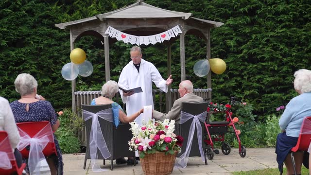 year-old fred cobbett and his wife, monica celebrated their 71st wedding anniversary with a renewal of their vows. the ceremony took place at fred's... - wedding vows stock videos & royalty-free footage