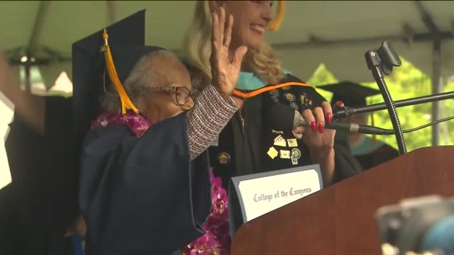 a 99yearold agua dulce woman earned cheers and tears on friday when she celebrated graduating from college of the canyons before turning a century... - santa clarita video stock e b–roll