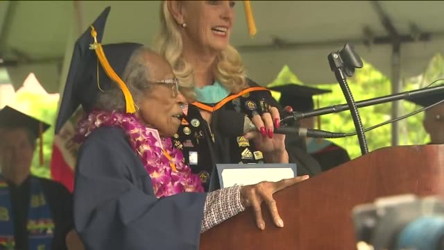 ktla a 99yearold agua dulce woman earned cheers and tears when she celebrated graduating from college of the canyons before turning a century old... - santa clarita video stock e b–roll
