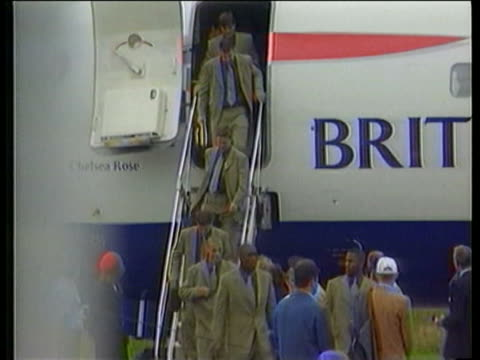 9jun1998 montage england squad arriving in france / paris france / audio - 1998 stock videos & royalty-free footage