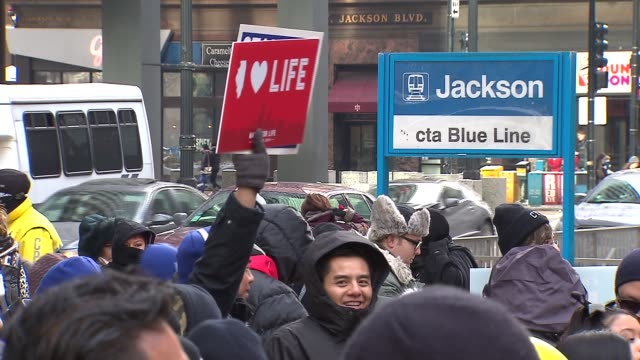/ 9th annual march for life rally marched through downtown chicago calling for the overturning of roe v. wade that legalized abortion nationwide on... - 年次イベント点の映像素材/bロール