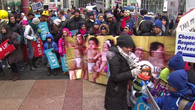 9th annual march for life rally marched through downtown chicago calling for the overturning of roe v. wade that legalized abortion nationwide on in... - 年次イベント点の映像素材/bロール