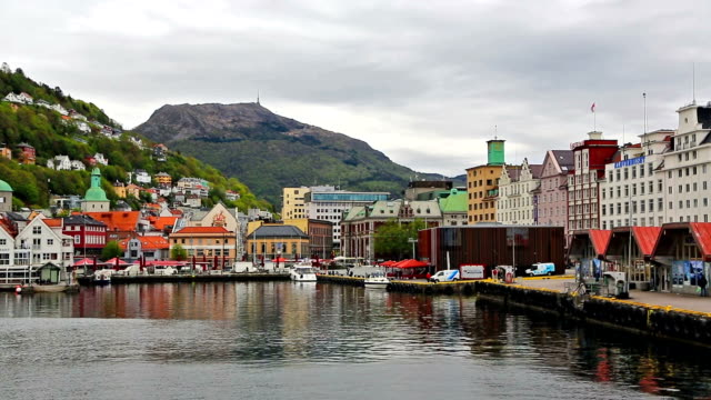 pov of a boat reaching bergen harbor - reaching stock videos and b-roll footage