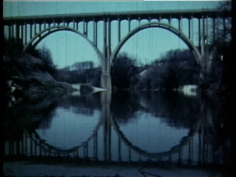 1966 ws a bridge over the cuyahoga river / ohio, united states - fiume cuyahoga video stock e b–roll