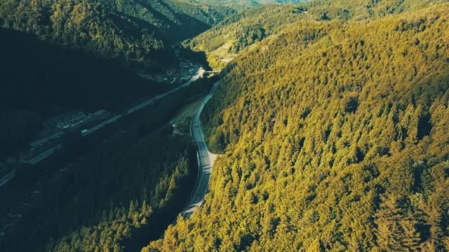 a cars runs mountain road, areal shooting - cedar stock videos & royalty-free footage